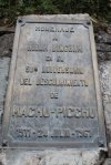 Plaque honouring Hiram Bingham