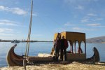 Lake Titicaca - about to catch a ride on a reed boat