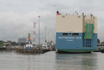 Car carrier heading into first lock at Miraflores