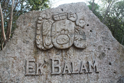 Sign showing Ek'Balam glyph (like a city crest)