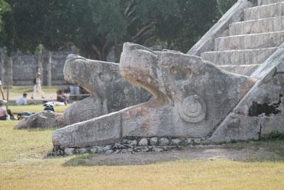 Chichen Itza - serpent heads at foot of El Castillo