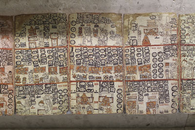 Reproduction of the Dresden Codex at the new Mayan museum