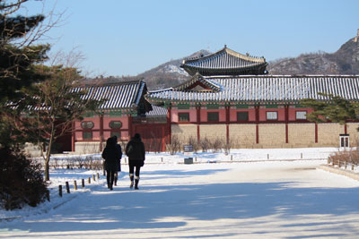 Snow on the ground at Gyeongbokgung Palace