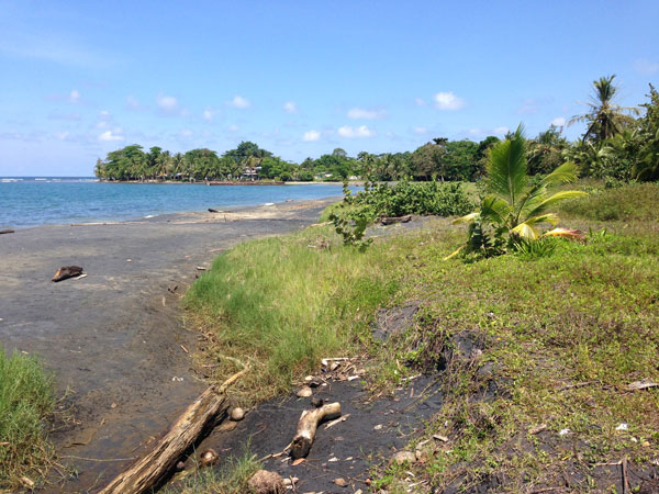 View of Puerto Viejo from Playa Negra, just north of town