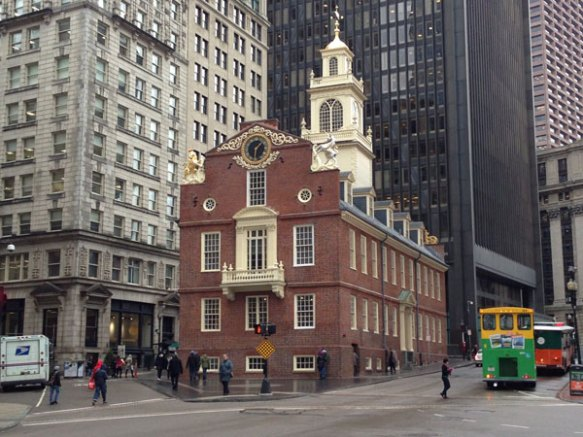 Old State House, now dwarfed by modern office towers.