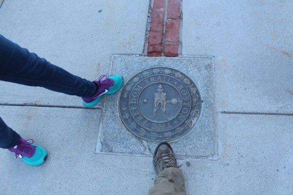 One end of the Freedom Trail at Bunker Hill. Let's get started!