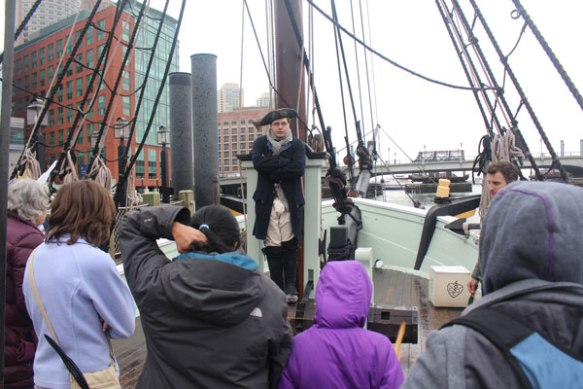 Getting instructions -- the patriots only threw tea overboard, nothing else.