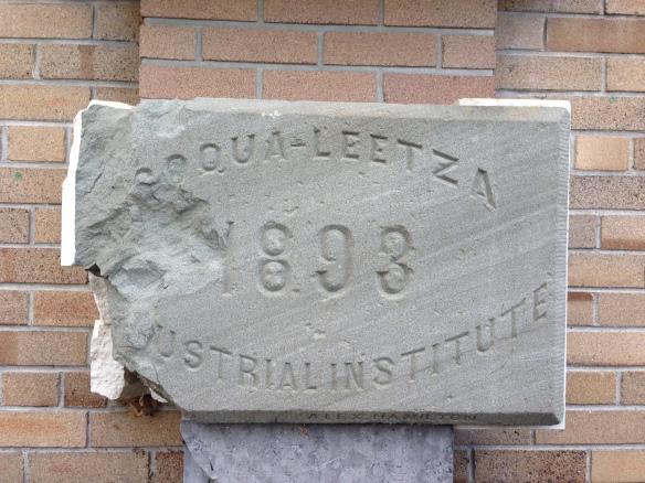 Original 1893 cornerstone for the Coqualeetza Industrial Institute (Indian residential school)