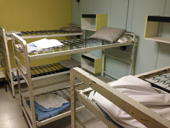 Bunk beds -- the plan was for the beds to always in use by whoever was off shift at the time
