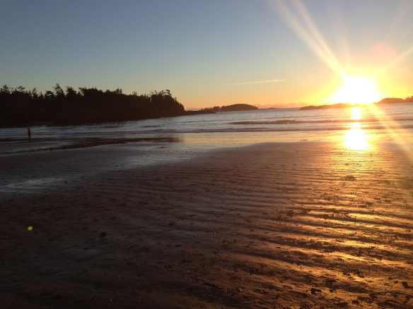 Sunset on the beach in front of the Tin Wis