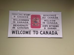 Old welcome sign on display at Pier 21
