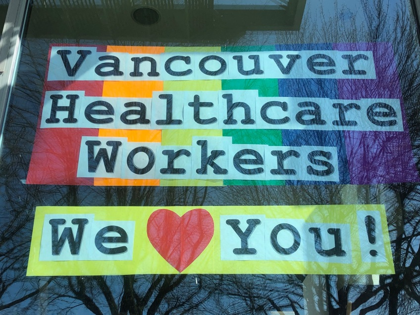 Photo of sign supporting healthcare workers
